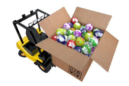 3d illustration loader with box full globes