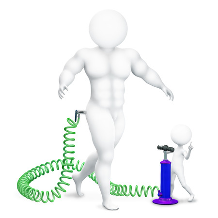 3d illustration small man pumps up muscles to the athlete