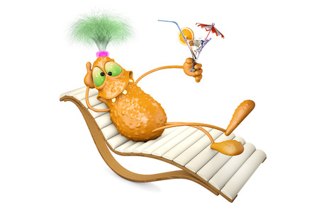 chaise lounge: 3d illustration monster lies on a chaise lounge and has a rest Stock Photo