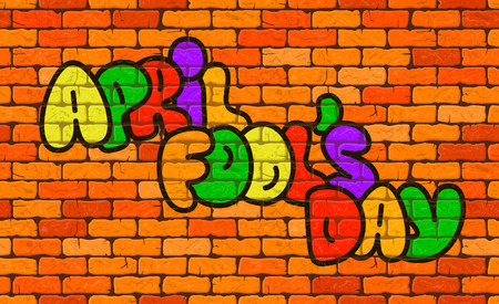 April Fools Day text EPS 10 vector illustration on the background wall of bricks