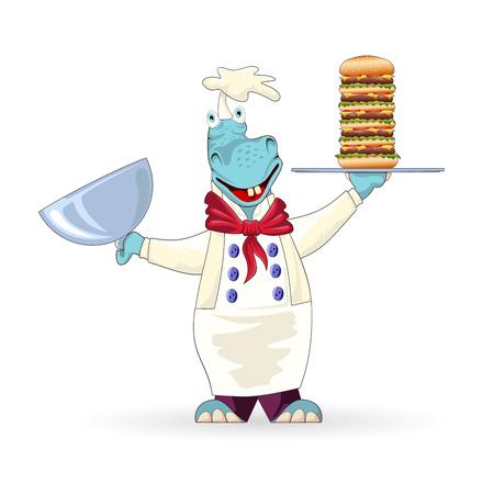 kok nijlpaard met genoegen presenteert de grote cheeseburger