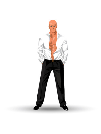 mature business man: The man in a shirt costs in a confident pose Illustration