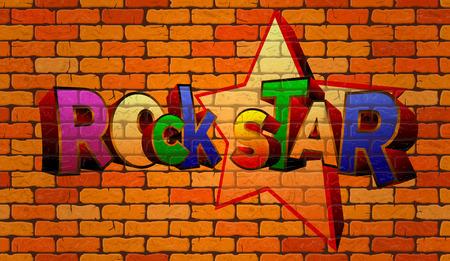 estrella de rock de la pintada en la pared de ladrillo rojo