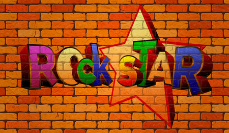 Graffiti rock star on the wall of red brick Stock Illustratie