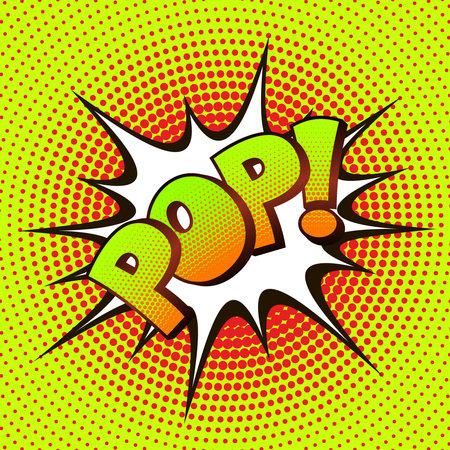 arte pop POP sobre un fondo de medios tonos. cómic retro. Ilustración de vector