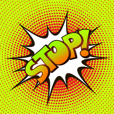astonishment: STOP pop art on a background of halftone. Retro comics. Illustration