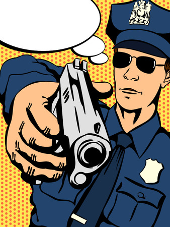 Police officer with a gun in his hand trying to stop crime. Retro comics