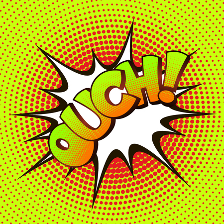 ouch: OUCH pop art on a background of halftone. Retro comics.
