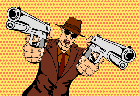 cartoon gangster: Mafioso with Gun. Retro Mafia Man. Pop Art Mafia Boss.