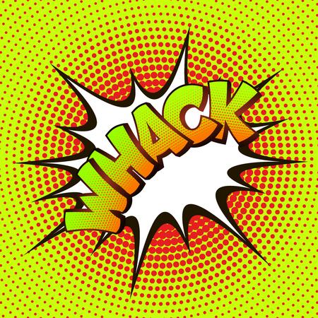 whack: Whack pop art on a background of halftone. Retro comics. Illustration