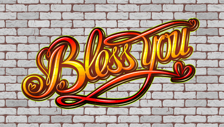 preachment: Bless you inscription on the wall of white brick. Vector illustration