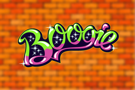 boogie: Boogie inscription on blurred background in the form of bricks Illustration