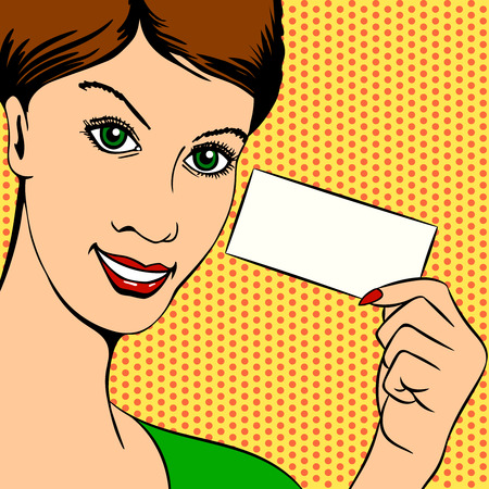 art piece: Illustration of a woman Holding a Piece of Paper - Retro or Pop Art Illustration