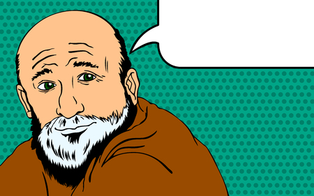 respectable: Wise old man expresses his thoughts. Style Pop Art