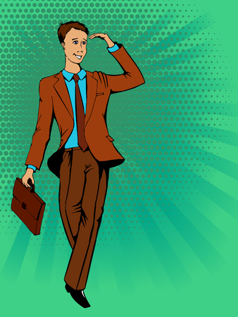 Young man in a suit looks into the distance. Retro comics. Vector illustration