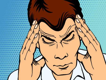 Man suffering with headache, pop art style retro. Vector illustration Illustration