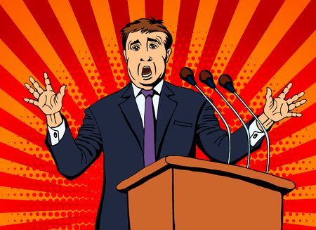 Businessman speaks into the microphone to the audience. Vector illustration Illustration