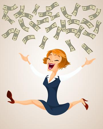 Happy woman throw money. Vector illustration in cartoon style