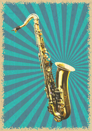 tenor: Classical saxophone. Vector illustration in retro style