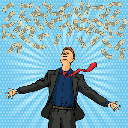 Happy man throws money at the top. Vector illustration Illustration