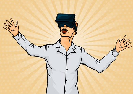 Amazed Businessman in Virtual Reality Goggles. Pop Art Vector illustration Illustration