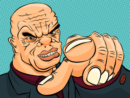 mobster: Evil boss pokes his finger. Retro style pop art. Vector illustration
