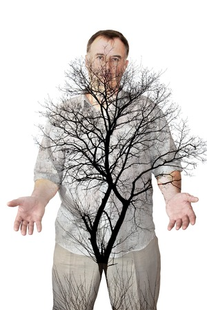 Tree on the background of the human body. Collage. Double exposure