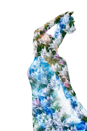 Woman in white tulips. Collage. Double exposure Stock Photo