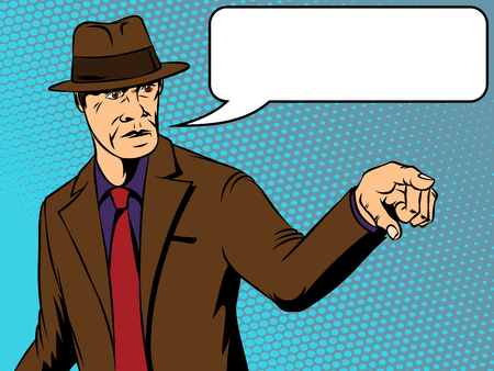 Man in a hat shows aggression. Retro comics. Vector illustration Illustration