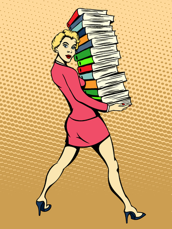 Young woman carries a stack of segregators. Vector illustration
