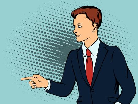 Confident businessman defends his belief. Retro style pop art. Vector illustration Illustration