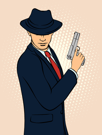 Mafioso with Gun. Pop Art Mafia Boss. Retro style pop art. Vector illustration