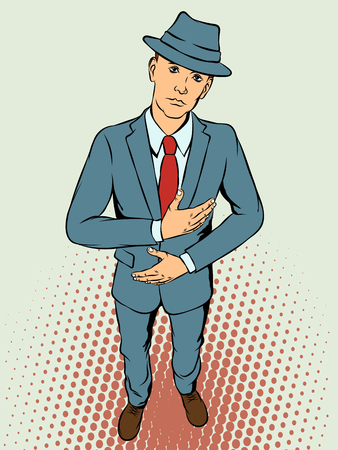 Young man in hat shows malaise. Retro style pop art. Vector illustration Illustration