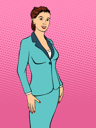 Portrait of a businesswoman. Retro style pop art. Vector illustration