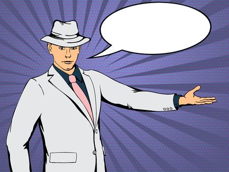 Confident businessman indicates direction. Retro style pop art. Vector illustration