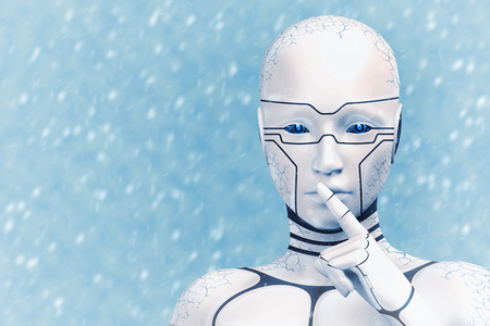 Portrait of a frozen cyborg woman, on a snowy background