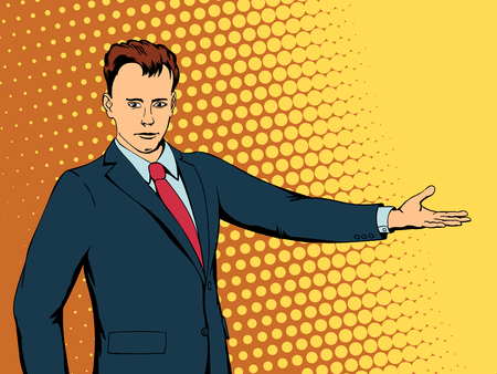 Happy businessman points direction. Retro style pop art. Vector illustration Illustration