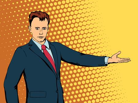 Happy businessman points direction. Retro style pop art. Vector illustration Illustration