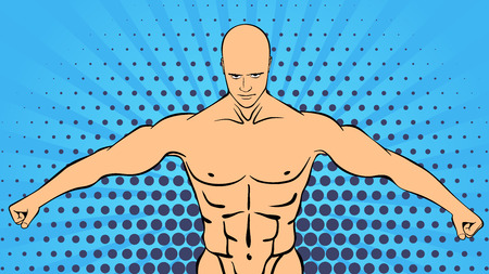 Bodybuilder muscle handsome athlete. Retro style pop art sports and fitness Illustration