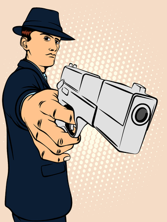 mobster: Man is aiming from the pistol. Retro style pop art. Vector illustration Illustration