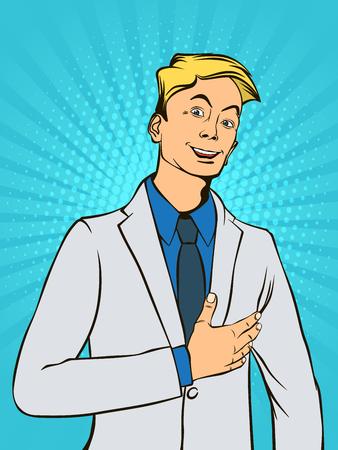 Successful businessman. Retro style pop art. Vector illustration