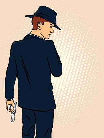 Mafioso in a hat. Retro style pop art. Vector illustration
