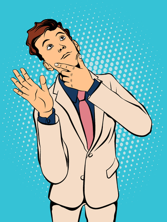 Young man waving his hand in greeting. Retro style pop art. Vector illustration Illustration