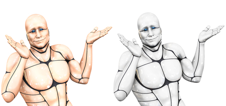 Cheerful cyborg man spreads his hands. Two color options. 3d rendering illustration