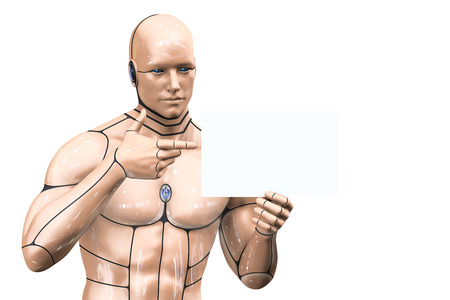 Cyborg man presents an advertisement. 3d rendering illustration