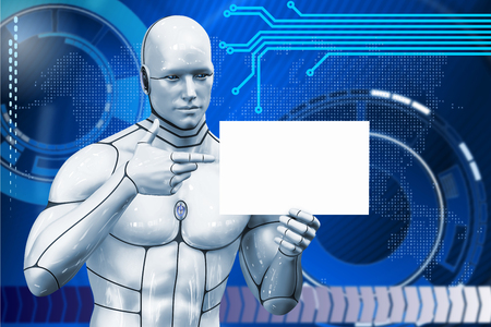 Man cyborg shows a piece of paper. 3d rendering illustration Stock Photo