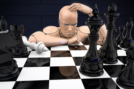 Cyborg man plays chess and loses. 3d rendering illustration Stock Photo