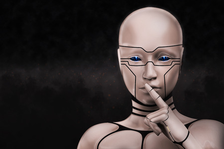 Portrait of a mysterious cyborg woman, on a dark background. 3D rendering illustration