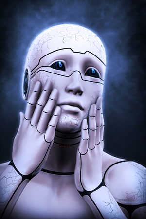 Portrait of a cyborg woman portraying a fright, on an abstract background. 3d rendering illustration Stock Photo