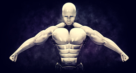 Aggressive cyborg shows its muscles. 3d rendering illustration